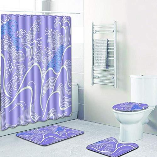 Vlejoy Conjunto De Cortina De Ducha Impermeable Abstracto Púrpura Conjunto De Inodoro con Alfombra Antideslizante Almohadilla En Forma De U 4 Piezas