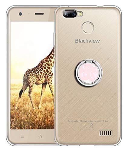 Sunrive Für Blackview A7 5,0 Zoll Hülle Silikon, Transparent Handyhülle 360°drehbarer Ständer Ring Fingerhalter Fingerhalterung Schutzhülle Etui Case(Rosa) MEHRWEG