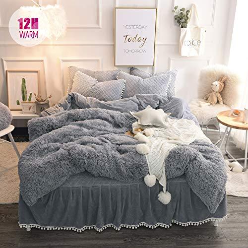 MUKKA Fluffy Plush Shaggy Duvet Cover Set Queen Full Size, 3 Pieces Furry Fuzzy Grey Comforter Cover Bedding Queen Set (1 Faux Fur Duvet Cover + 2 Pom Poms Fringe Pillow Shams) Soft, Zipper Closure