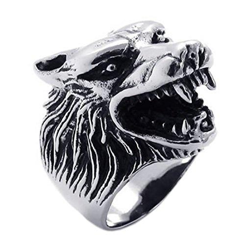 Andifany Schmuck Ring Maenner Werwolf Edelstahl Ring Fantasie Maenner Farbe Schwarz Silber, 70mm