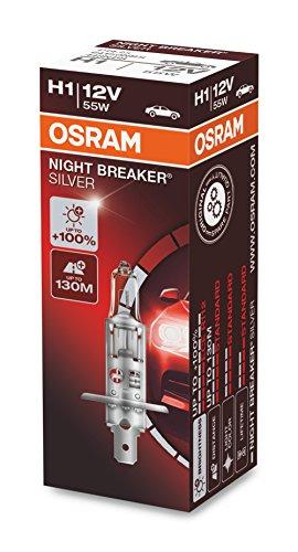 OSRAM NIGHT BREAKER SILVER H1, +100% di luce, lampada da proiettore alogena, 64150NBS, 12V, auto, scatola (1 lampada)