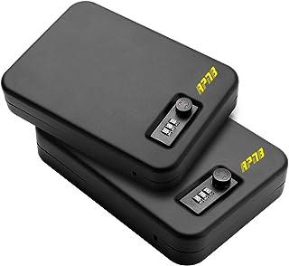 "RPNB Steel Keyed/Combination Lock Box, Portable Gun Safe with 3 Digits Combination Lock, Portable Metal Handgun Safe & Case with Key Lock Black, Measures 10"" x 7"" x 2"", 1 Year Warranty"