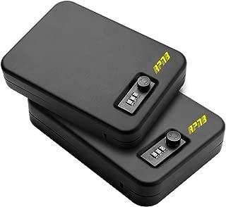 RPNB Steel Keyed/Combination Lock Box, Portable Gun Safe with 3 Digits Combination Lock, Portable Metal Handgun Safe & Case with Key Lock Black, Measures 10