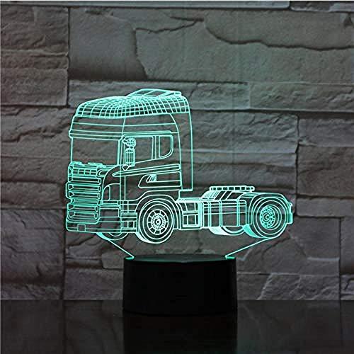 Super LED zware vrachtwagenvorm nachtlampje 7 soorten kleurverandering 3D fantoom nachtlampje touch-schakelaar USB-kabel