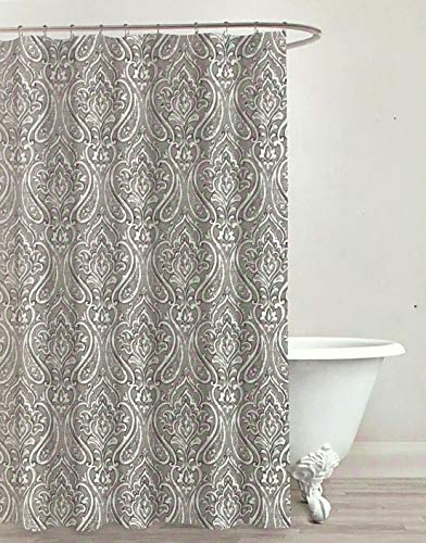 Envogue Designer Shower Curtain Boho Paisley Medallion Pattern in Shades of Gray, Black and White 100% Cotton Luxury