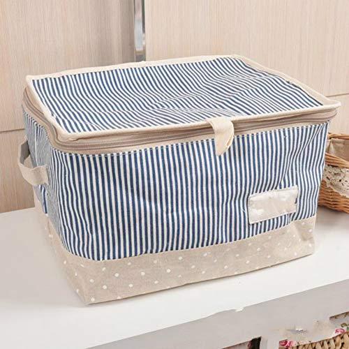 YOUYUANF Almacenamiento Storage BoxStorage Basket Zipper with Lid Blue Strip-Net