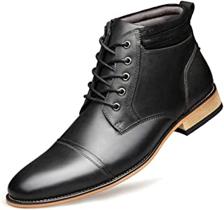 2019 Men Boots Mens Ankle Boots High Top for Men Chukka Boot Casual Lace Up Leather Side Zipper Wood-Like Sole Burnished Style Stitch Soft Waxy Travel Shoelaces