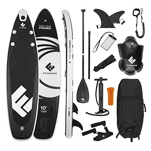FitEngine Stand-Up-Paddle-Board Komplett-Set | Allrounder Trip SUP inkl. Action-Cam-Halterung, aufblasbares Drybag, wasserdichte Handyhülle | 305 cm (10\') Allrounder