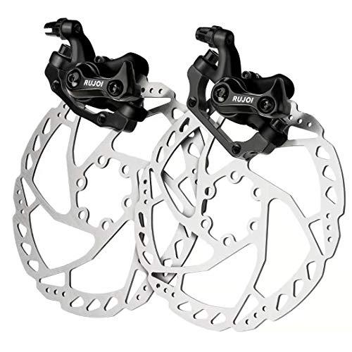 RUJOI Bike Disc Brake Kit, Aluminum Front and Rear Caliper, 160mm Rotor, Mechanic Tool-Free Pad Adjuster for Road Bike, Mountain Bike Black (2 Sets)