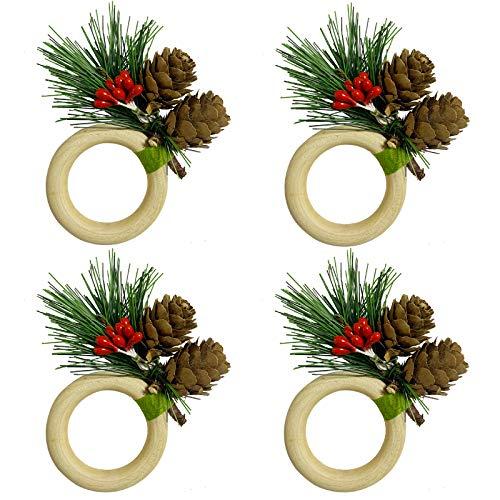 LogHog Christmas Napkin Rings Set of 4, Wood Handmade Napkin Rings for Wedding, Valentine's, Banquet, Birthday, Thanksgiving Table Decor(Christmas Tree & Pinecone