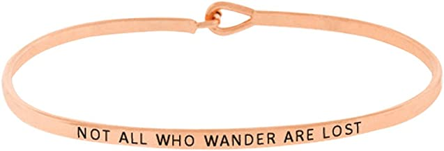 Rosemarie Collections Women's Thin Hook Bangle Bracelet Not All Who Wander are Lost