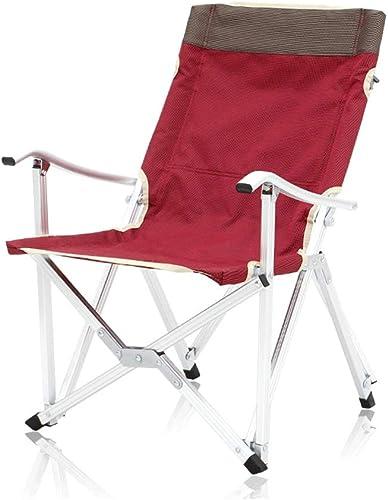 Chaises de camping pliantes en aluminium pour chaises de plage, chaises de plage portables, chaises de pêche ultra-légères, armée de feu, vert rouge, peut supporter 120kg (Couleur   rouge)
