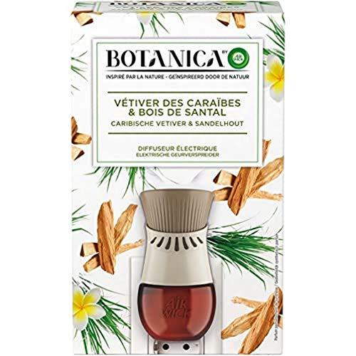 Air Wick Botanica Désodorisant Maison Diffuseur Electrique + 1 Recharge d'Huile Essentielle de Vétiver/Bois de Santal 19 ml