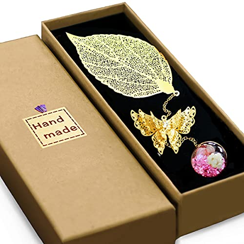 Aimfar Gift Bookmarks for Women,3D Butterfly Pendant Metal Leaf Book Markers Retirement Appreciation Mother's Day Gifts for Teachers Students Readers Friends Mom Girls