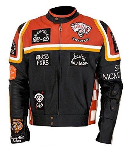 HDMM Mickey Rourke Kostüm Stilvolle Biker Freizeitkleidung Echtleder Jacke Gr. M, Gleiches wie Bild