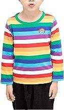 Nuokalu Boys Cotton Long Sleeve T-Shirts Rainbow Striped Shirts