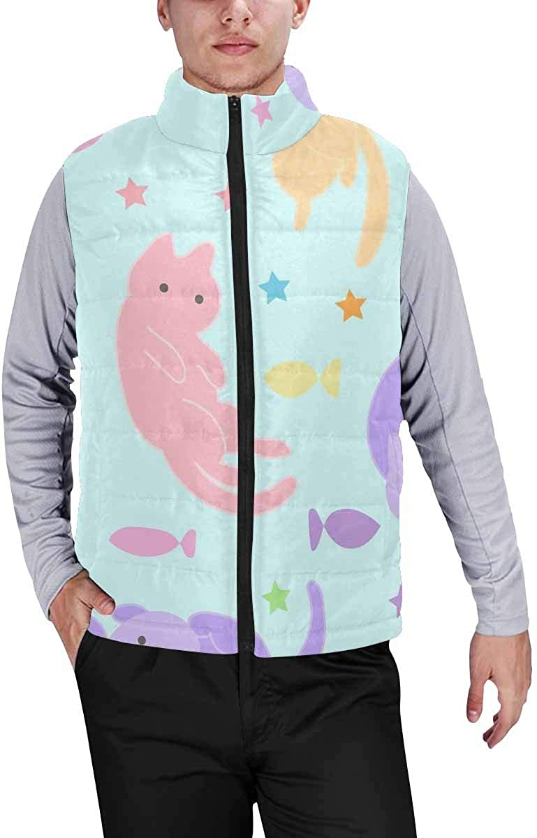 InterestPrint Men's Casual Sleeveless Coats with Personality Design Portrait of a Skull with a Crown and Lipstick