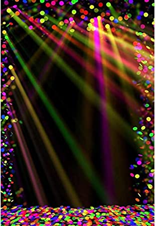 CdHBH 8x10ft Glittering Stage Colorful Lights Confetti Music Party Photo Studio Photo Studio Photography Photography Props Wallpaper Home Decoration Vinyl Material