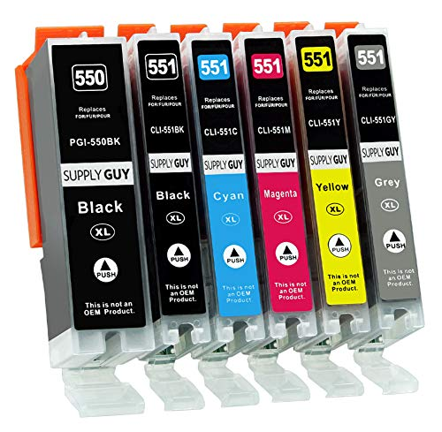 Supply Guy 6 Druckerpatronen mit Chip kompatibel mit Canon PGI-550 CLI-551 passend für Canon Pixma IP-8700 IP-8750 MG-6300 MG-6350 MG-7100 MG-7150 MG-7500 MG-7550