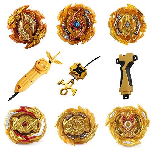 Bey Battle Burst Blade God Evolution High Performance 4D Sword Launcher, Ripcord Launcher LR (Left & Right Turning) Stater & Grip Strong Spining Top Toys Set