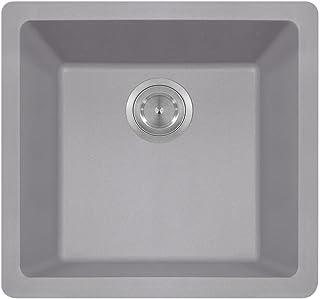 805 Dual-mount Single Bowl Quartz Kitchen Sink, Silver, No Additional Accessories
