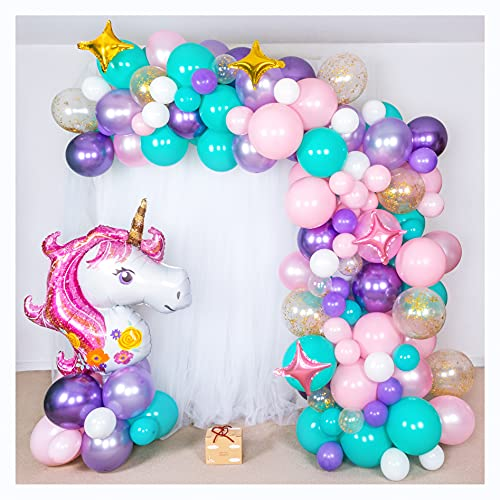 Shimmer and Confetti Premium 16-foot DIY Unicorn Balloon Arch and Garland Kit with Giant Unicorn, Stars, Metallic and Pearlized Balloons, 10 Confetti. Unicorn Party Supplies and Decorations for Girls