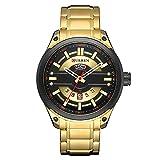 Festnight 8319 Reloj para Hombre Marca de Cuarzo Correa de Acero Inoxidable Diario Impermeable Redondo Dial Moda Negocio Reloj Relogio Masculino