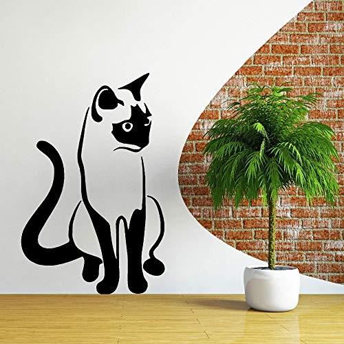 hetingyue creatieve kat kunst wandafbeelding slaapkamer decoratie kunst slaapkamer schattige vinyl muursticker muurschildering moderne kunst