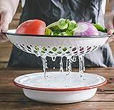 Europa-Style Esmalte Fruit Bandeja Plato Cena Creativa Retro Esmalte Fruta y Vegetal Limpieza Drenaje Pan de desagüe Proceso de esmalte (Color : Red 2)
