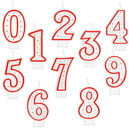 10 Pieces Polka Dot Birthday Candle Number Candle Numeral 0-9 Candle Cake Topper Decoration for Birthday Party Supplies (Red)