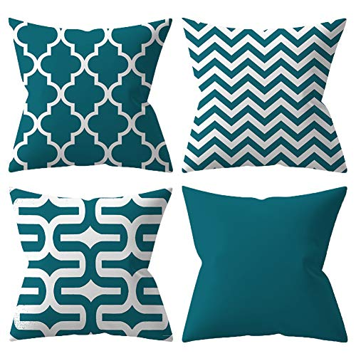 BCKAKQA Cushion Covers 45cm x 45cm Set of 4 Teal Blue Geometric Throw Pillow Cover 18x18 inch Soft Polyester Square Decorative Throw Pillow Case for Living Room Sofa Couch Bed Pillowcases