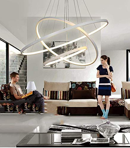 Lampadario LED a Sospensione 48W 3 Anelli Sospesi Cerchi dal Design Moderno 60x60x100 cm (Bianco Caldo)
