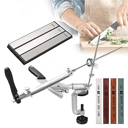 Adoture Festwinkel Messerschärfer, Profi Messerschleifer mit 4/8 Schleifsteinen, 360° Multifunktion Rollschleifer Messerschärfer für Küche (7 Schleifsteine (mit 3 Diamanten))