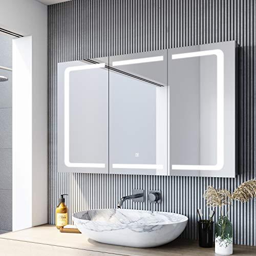 SONNI Spiegelschrank Bad Spiegelschrank mit Beleuchtung 105 x 65cm Edelstahl Spiegelschrank Bad für Badezimmer 3 türig LED Spiegelschrank mit Touch und Steckdose