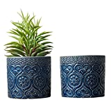 MyGift Blumentöpfe für Sukkulenten, 10,2 cm, kobaltblau, Keramik, geprägt, 2 Stück