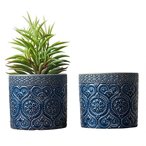 MyGift 4-Inch Cobalt Blue Ceramic Floral Embossed Succulent Planter Pots, Set of...