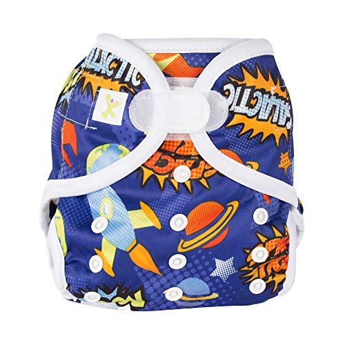 Kidzencia cloth diapers smart cover for baby with stay dry 5 layer hemp insert , double gusset, one size adjustable diaper, Reusable for baby boys & girls velcro closure (Day Time) (Blue)
