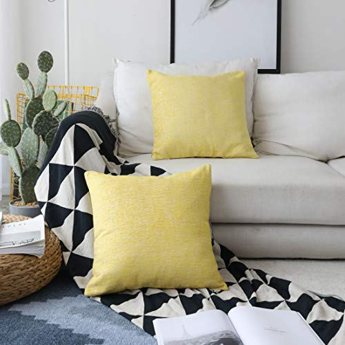 Kevin Textile Decor Soft Velvet Chenille Toss Throw Pillow Cover Fashion Striped 2 Tone Decorative Pillow Case Handmade Cushion Cover Couch, 18x18 inches, 2 Pieces, Lemon Yellow