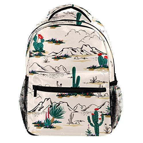 Estate Cactus nel Deserto Stampa Colore Moda Zaino Scuola Studenti Libro Borsa Outdoor Viaggio Campeggio Escursioni Casual All-Match Grande Capacità per Bambini Ragazze Ragazzi