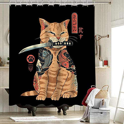 Vincent Trinidad Catana Cortina de ducha de tela para decoración del hogar Cortina de ducha Vp Trinidad Japonesa Retro Catana Cat Warrior American Art 72 x 72 pulgadas