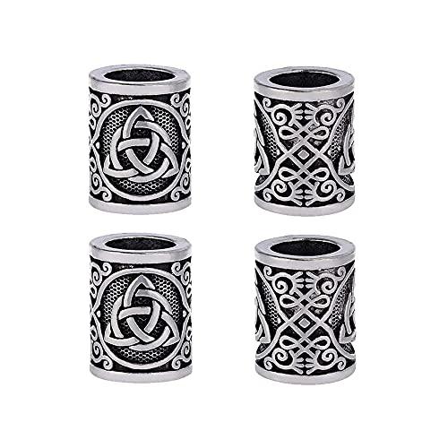 Yahpetes Hair Beard Beads Celtics Knots Triquetra Viking Beads 0.59'X0.47' Viking Rune Beards Sliver Norse Rings Large Viking Beard Beads Metal Beads (5)