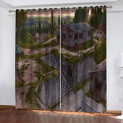 3D Landscape Printing Curtains Nordic Modern Style Perforated Blackout Curtains, Hotel Garden Balcony Waterproof (2 Pieces)