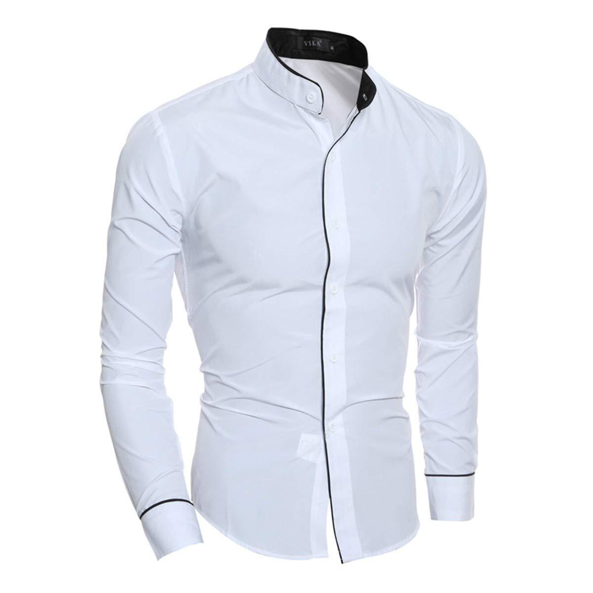 BOKlzZ Collar de pie Casual Color sólido, Color Blanco, XXL Camisa Bambú Fibra Hombre, Manga Larga, Slim Fit, Camisa Elástica Casual/Formal para Hombre: Amazon.es: Deportes y aire libre