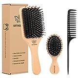 Hair Brush,Boar Bristle Hair Brush and Small Travel Styling Brush Set for Women Men Kids, Best Natural Wooden Paddle Hairbrush for Wet or Dry Hair Detangling Smoothing Massaging