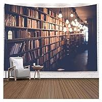 古い本の壁の偽の壁の布タペストリーモダンな家の装飾図書館のレンガの木製の背景タペストリーの壁掛けカーペットの毛布 (Color : B, サイズ : 95x73cm)