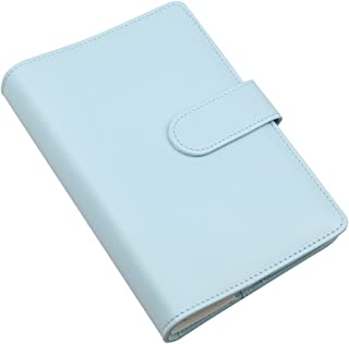 A6 PU Leather Notebook Cover,Refillable 6 Round Ring Binder Cover for A6 Filler Paper,Travel Diary Cover with Business Card Pocket,Writing Journal Cover with Magnetic Buckle, Mint Blue