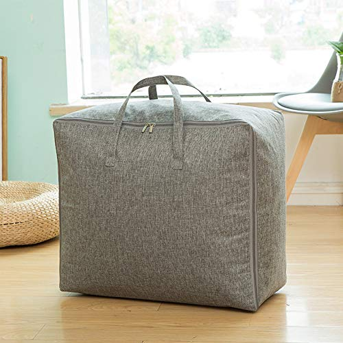 langchao Baumwolle und Leinen einfarbig tragbare Stepptasche wasserdichte Reisetasche Kleidung Finishing Aufbewahrungsbox Leinen grau groß 60 * 40 * 24cm