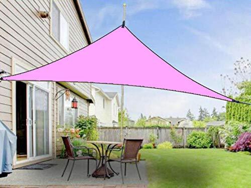 Charm4you Protección Rayos UV Toldo Vela de Sombra,Sombra de Lluvia de protección Solar Triangular para Exteriores-Pink_4 * 4 * 4,Toldo Techo para Balcón Jardín Toldo