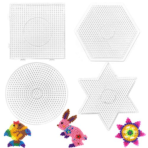 4 Stücke Bügelperlen Steckplatte,Groß Bügelperlen Vorlagen,Transparente Stiftplatte,Bügelperlen Schablonen,DIY Transparente Form Puzzle-Vorlage für 5 mm Hama