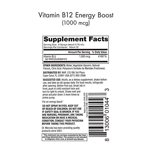 Dr. Mercola,Vitamin B12 Energy Boost Spray, 0.85 FL. oz (25 mL), (32 Servings), Supports Energy Levels, Helps Support Cognitive Health, Non GMO, Soy Free, Gluten Free